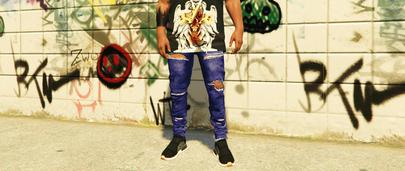 Синие рваные джинсы для ГТА 5