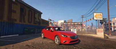 Мод GTA 5 Mazda 6 Grand Touring 2016 года выпуска красного цвета в промзоне