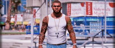 Татуировки и шрамы от пуль для ГТА 5 с модом Body tattoos and Bullets Scars на теле главного героя Франклина