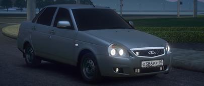 Автомобиль VAZ 2170 Lada Priora Luxe для GTA 5 с включенными фарами и противотуманками