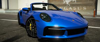 Porsche 911 Turbo S Cabriolet 2020 для GTA 5 – главный вид с открытой крышей