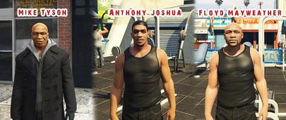 Скины Знаменитых Боксёров: Mike Tyson, Anthony Joshua, Floyd Mayweather для GTA 5
